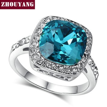 ZHOUYANG Classical Created Sapphire Rose & White Gold Plated Wedding Ring Made with Genuine Austrian Crystals ZYR056
