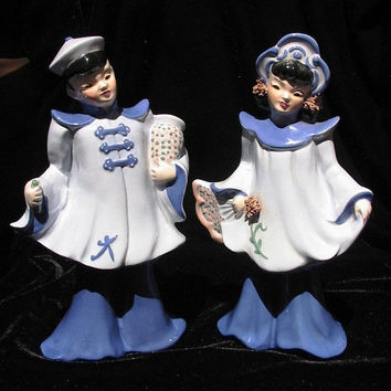 Almost 50% OFF SUMMER SALE Vintage Florence Ceramic Porcelain Oriental Figurine Pair 1940s -1950s Collectible