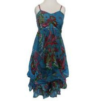 Women's Cotton Blue Floral Adjustable Strap Ruffle Dress (Nepal) | Overstock.com
