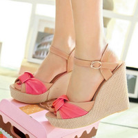 Peep Toes Platform Sandals Women Wedges Ankle Straps High Heels Shoes Woman