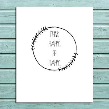 """Digital Print """"Think Happy Be Happy"""" Quote Home Wall Art Decor"""