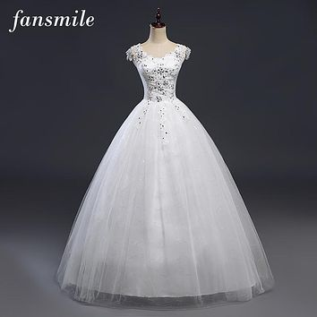 Fansmile Double Shoulder Sexy Lace Crystal Wedding Dress 2016 Vintage Belt Vestido De Noiva Plus Size Bridal Dress Free Shipping