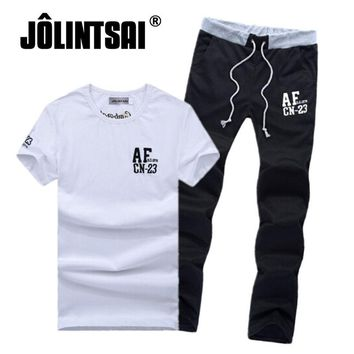 Men's Short-Sleeve Printed T-shirt & Pants Set