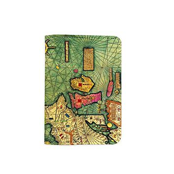 The Map Leather Passport Cover - Vintage Passport Wallet - Travel Accessory Gift - Travel Wallet for Women and Men _Mishkaa