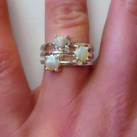 Natural Australian Opal Ring Sterling Silver .925