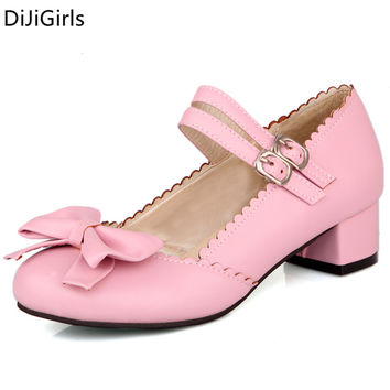 2017 Spring Sweet lolita shoes woman pink pumps female chunky heel buckle strap high heels shoes ladies dance bowtie Shoes Black
