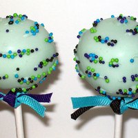 Cake Pops Custom Blue Green Favors Birthday Men by CakePopFusion