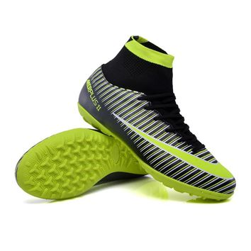 ZHENZU Men's High Ankle Turf Sole Indoor Football Boots Shoes Superfly Soccer Cleats Sneakers EU size 34-46 voetbalschoenen