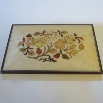 Musical Jewelry Box Floral Marquetry Made in Italy By Romance