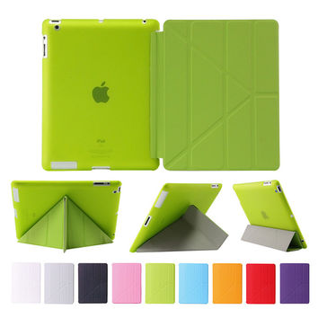 Case for apple Ipad 2 3 4 Smart pu leather auto sleep + tpu bottom cover 9.7 inch for ipad 2/3/4 soft protect with stylus