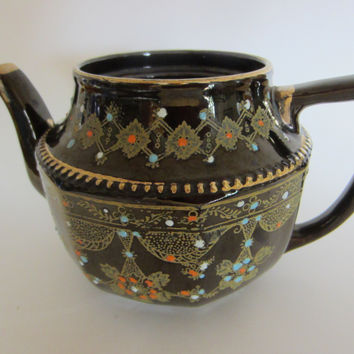 Luster Brown Moriage Ceramic Teapot Gold Plated Colored Beading