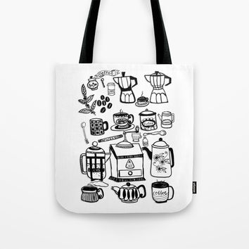 Coffee Doodles Tote Bag by Shashira Handmaker