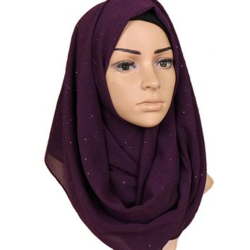 Women Gold Glitters Shimmer Bubble Chiffon Muslim Hijab Scarf Shawl Head Wrap Plain Colours Lic Female Scarves Bandana