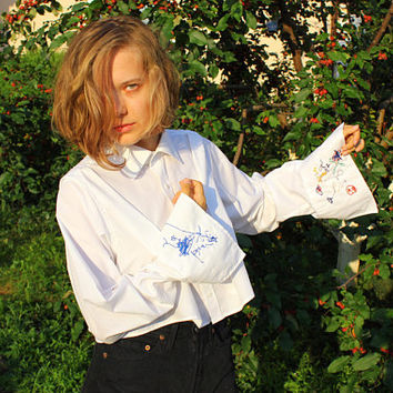 Kids Doodles Crop Shirt / White Collared Cufflink Shirt Hand Embroidered with Toddler Drawings / Long Sleeve Peace Dove Blouse  ---> S to M