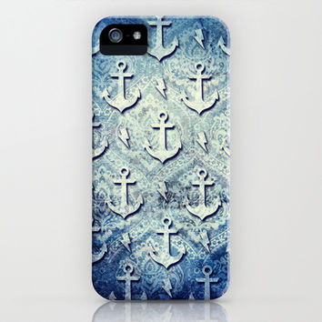 Denim anchors pattern, nautical rockabilly style. iPhone & iPod Case by Kristy Patterson Design