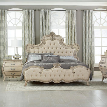 Home Elegance 1978W-5PC 5 pc Elsmere collection antiqued grey finish wood with silver tipping and tufted headboard queen bedroom set