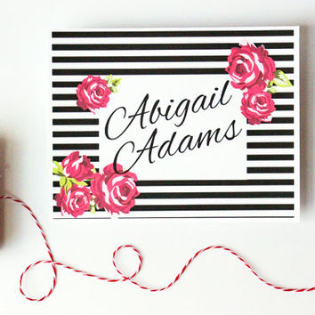 Personalized Stationary Black and White Stripes Floral Red Roses Custom Stationery Shabby Chic Floral Note Cards Hostess Gift / Set of 10
