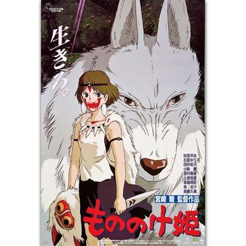 FX820 Princess Mononoke Classic Cartoon Studio Ghibli Hot Japan Anime Custom Poster Art Silk Canvas Home Room Wall Print Decor