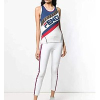 FENDI Summer Fashion Women Sleeveless Vest Top Sports Stretch Pants Trousers Sweatpants Two Piece Set