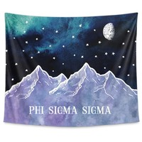 Phi Sigma Sigma Mountain Night Tapestry