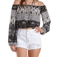 Black Combo Off-the-Shoulder Paisley Print Top by Charlotte Russe
