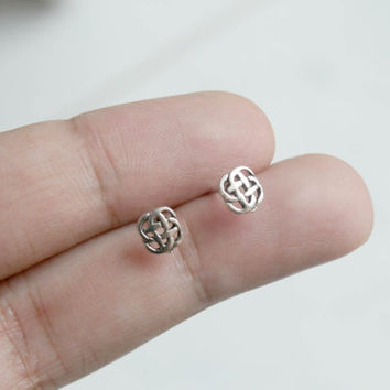 Sterling Silver Celtic Knot Stud Earrings - Celtic Jewelry - Tiny Celtic Knot Stud Earrings - Tiny Stud Earrings - Cartilage Earrings -