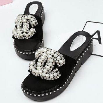 CHANEL Women Fashion Pearl Slipper Flats Shoes