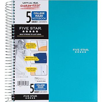 Five Star® 5-Subject Notebook, College Ruled, Assorted, 8-1/2 x 11