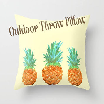 Outdoor Throw Pillow,  Pineapple, cute decorative pillow,  Outdoor decor, patio pillows, cushions, garden, tropical poolside Yellow