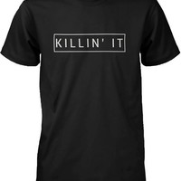 Men's Black Cotton T-Shirt - Killin' It Killing It Graphic Tee
