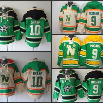 Cheap Mens Dallas Stars Hoodies 9 Mike Modano 10 Patrick Sharp Sweatshirts Stitched Authentic Old Time Hockey Hoodies size S-3XL