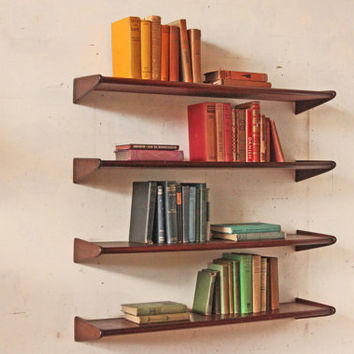 Four Tier Mid Century Floating Book Shelf Shelving Unit