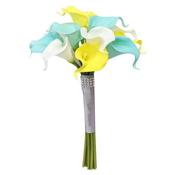 "8"" Bouquet - Spa Aqua, Yellow, and White Real Touch Calla Lilies"