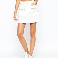 Weekday | Weekday Mini Raw Edge Denim Skirt With Cargo Pockets at ASOS