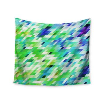 """Dawid Roc """"Colorful Summer Geometric"""" Green Abstract Wall Tapestry"""