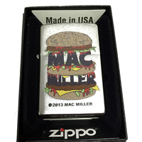 Zippo Custom Lighter - Mac Miller with Triple Stacked Bun Burger - Regular Brush Finish Chrome 200CI012082