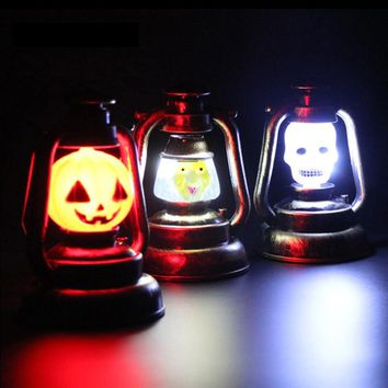 Portable Halloween Pumpkin Ghost Night Light Props Supplies Home Party Decor Luminous Skull Witch Lamp retro  Lantern ZM