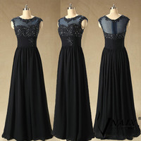 Real Images Cap Sleeves See Though Top Part Long Chiffon Navy Blue Formal Lace Prom Dress Navy Blue Lace Evening Dress 2014 Bridesmaid Dress