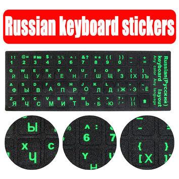 Standard Waterproof Russian Language Keyboard Stickers Layout with Button Letters Alphabet for Computer Keyboard Protective Film