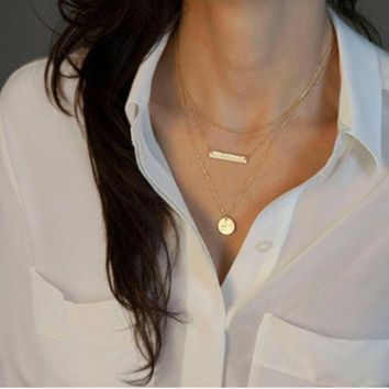ONETOW Fatima hand wishing bone pearl bar sticks multi-layer chain necklace