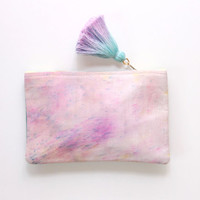 WHISPER/ Natural leather & Dyed cotton two color side pouch - Ready to Ship