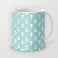Mint Anchors Pattern Mug by heartlocked