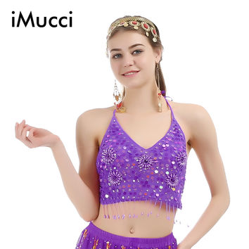 iMucci 8 Colors Five Flower Sleeveless Bra Adult Women Belly Dance Top 120D Chiffon Handmade Indian Costume Dancewear 104