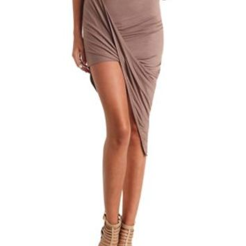 Draped Asymmetrical Wrap Skirt by Charlotte Russe - Coffee Brown