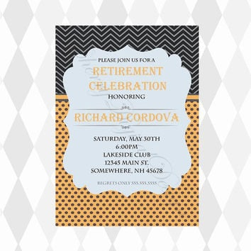 Printable Custom Retirement Party Invitation for him.  Happy Retirement. Custom Invitation for birthday, graduation, or any occasion.