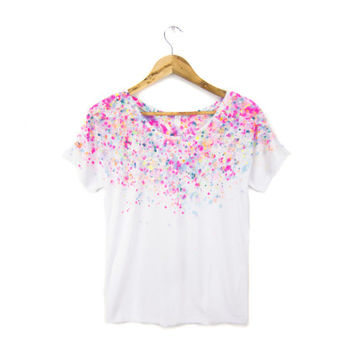Micro Confetti - Hand Dyed Painted Polka Dots Relaxed Fit Flowy Scoop Neck Tee in Neon Rainbow - Women's S M L XL 2XL 3XL