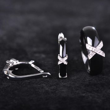 Ceramic Jewelry Sets For Women Letter X Shape Ring Zirconia Micro Paved Earrings Rings Set Copper Porcelain Joias With Gift Box