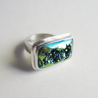 Druzy Ring - Size 7 - Sterling Silver Ring - Large - Rectangle - Druzy Quartz - Handmade Jewelry - Bague - Anillo