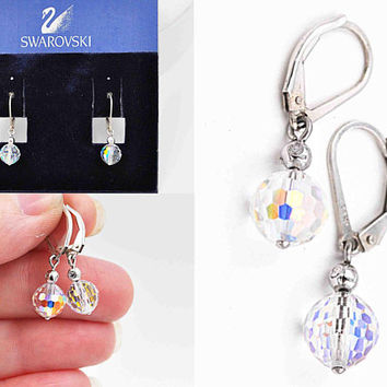 Vintage Swarovski Sterling Silver AB Crystal Pierced Earrings, Disco Ball, Faceted, Dangle, Drop, Lever Back, Original Card! #c525