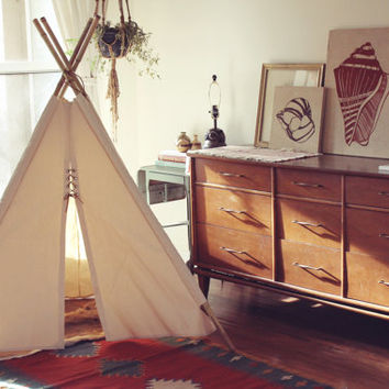 Canvas Kids Teepee - Fold Away Tepee With 6ft Bamboo Poles
